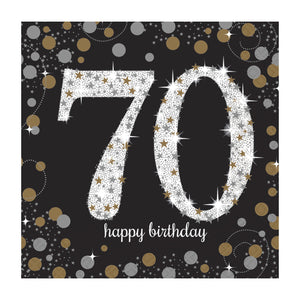 70th Happy Birthday Gold Napkins