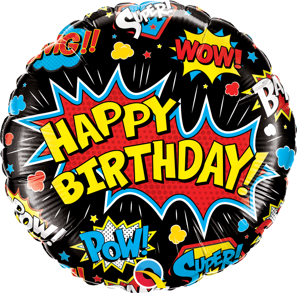 Black Happy Birthday Super Hero Balloon