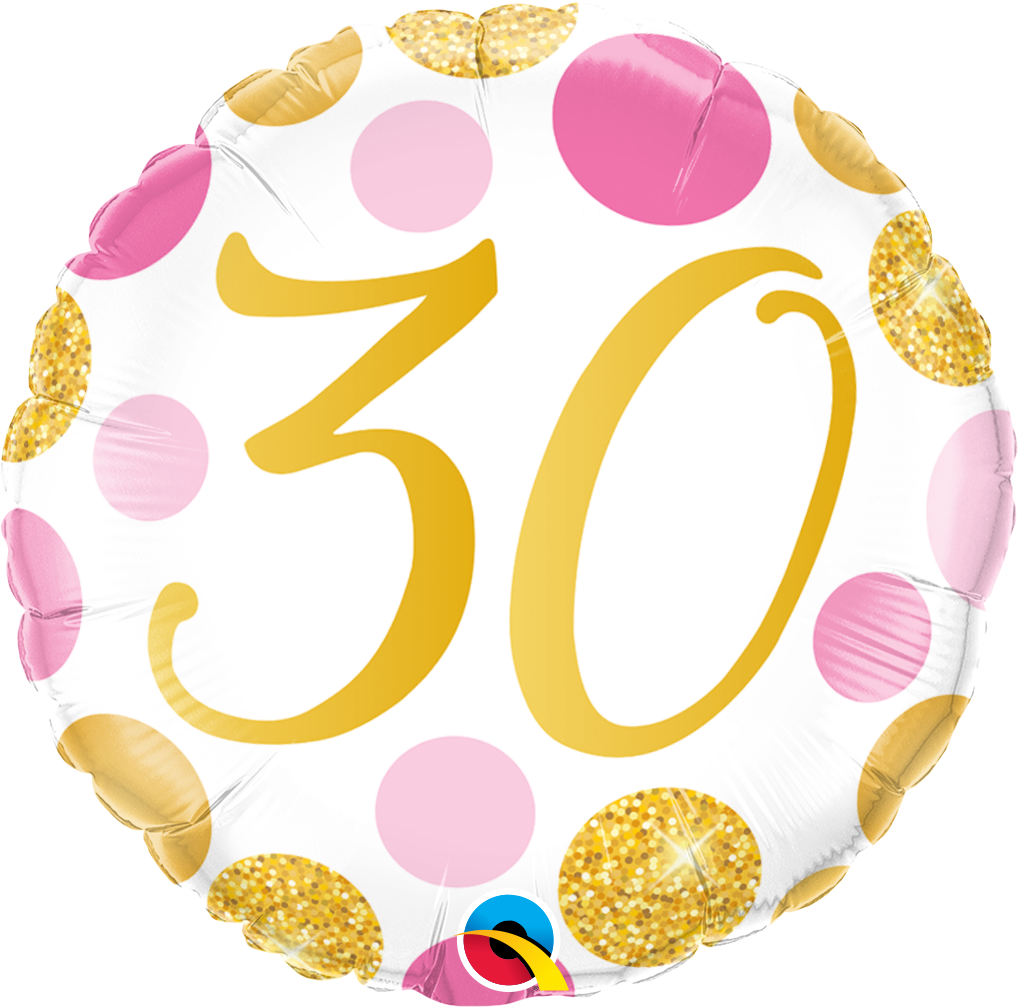 30th Pink And Gold Dots Balloon