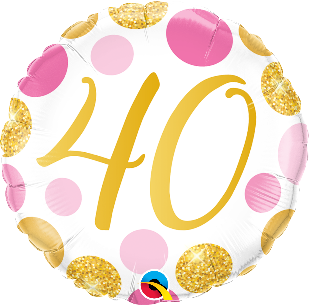40th Pink And Gold Dots Balloon