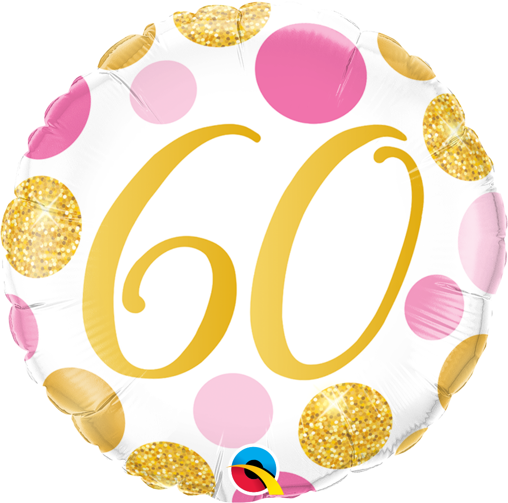 60th Pink And Gold Dots Balloon