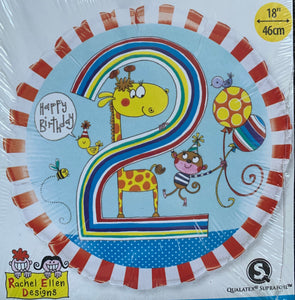 Happy 2nd Birthday Giraffe Balloon