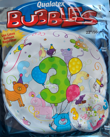 Age 3 Animals Balloon