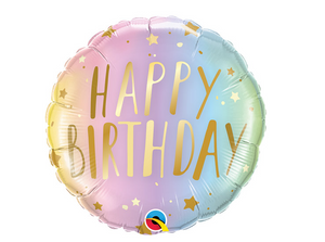 Birthday Pastel Ombre And Stars Foil Balloon