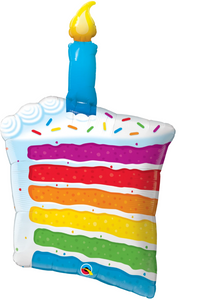Rainbow Cake & Candle Supershape Balloon