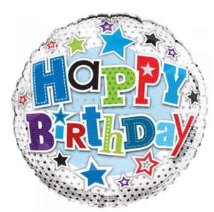 Happy Birthday Stars & Dots Balloon