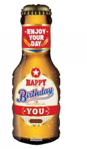 Happy Birthday Beer Bottle Supershape Balloon