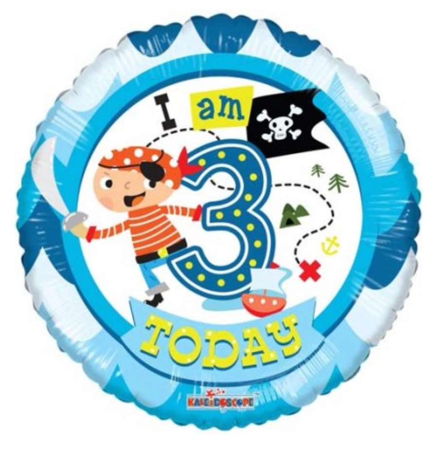 I Am 3 Today Pirate Balloon