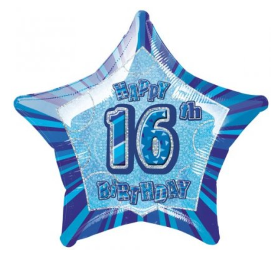 Happy 16th Birthday Blue Glitz Balloon