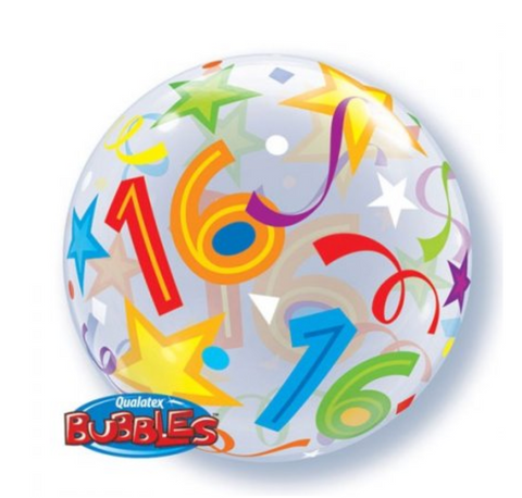 16th Birthday Brilliant Stars Single Bubble Balloon