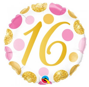 16th Pink And Gold Dots Balloon