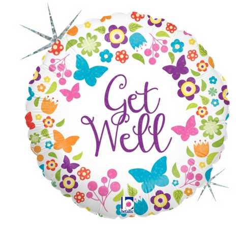 Butterflies & Flowers Get Well Balloon