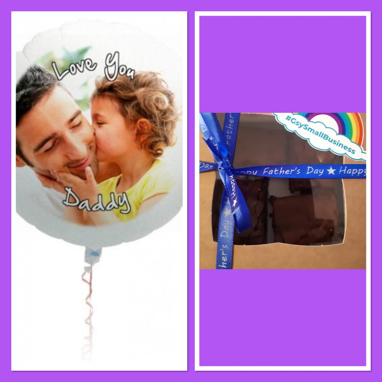 Father's Day Photo Balloon And Brownies
