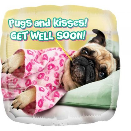 Pugs And Kisses Get Well Soon Balloon