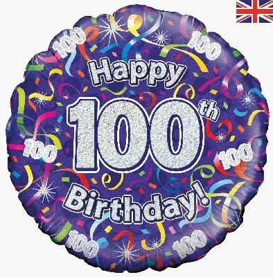 100th Birthday Streamers Balloon