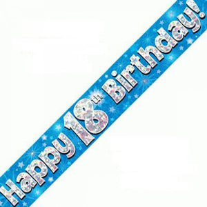 Happy 18th Birthday Blue Holographic Banner