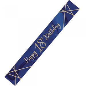Navy & Gold Geode Happy 18th Birthday Banner
