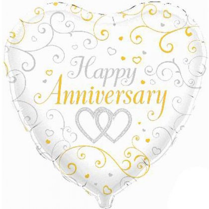 Happy Anniversary Linked Hearts Balloon