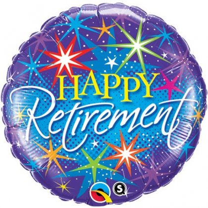 Happy Retirement Colourful Bursts Balloon