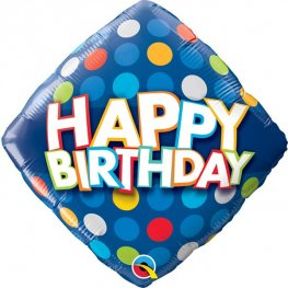Happy Birthday Blue & Colourful Dots Balloon