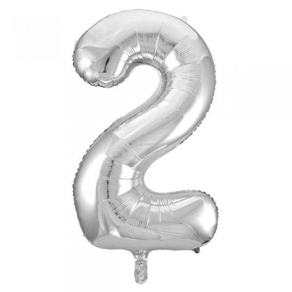 Silver Glitz Number 2 Supershape Balloon