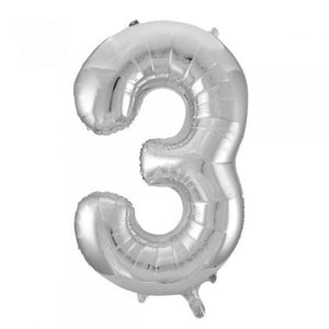 Silver Glitz Number 3 Supershape Balloon