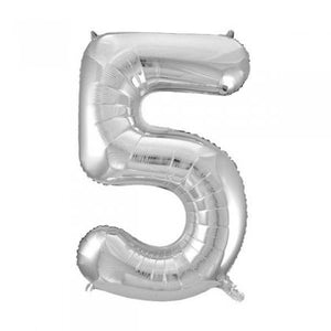 Silver Glitz Number 5 Supershape Balloon