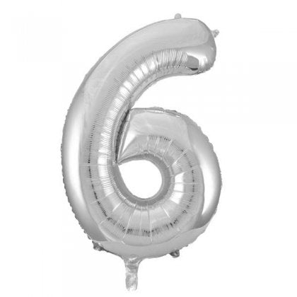Silver Glitz Number 6 Supershape Balloon