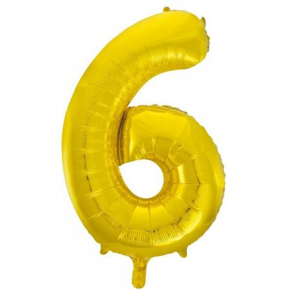 Gold Glitz Number 6 Supershape Balloon