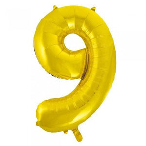 Gold Glitz Number 9 Supershape Balloon