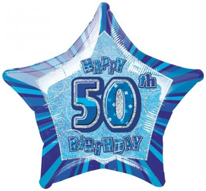 Happy 50th Birthday Blue Glitz Balloon