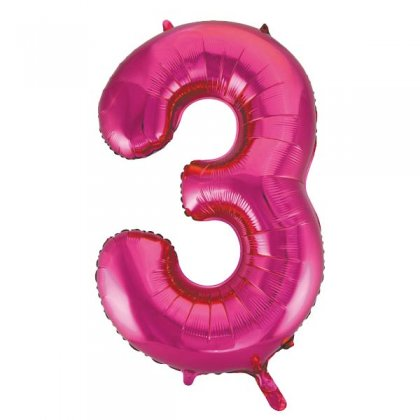 Pink Glitz Number 3 Supershape Balloon
