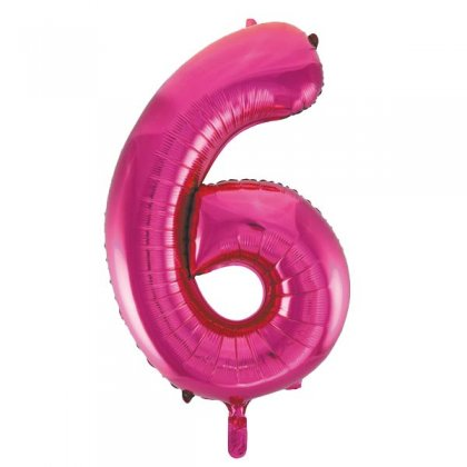 Pink Glitz Number 6 Supershape Balloon