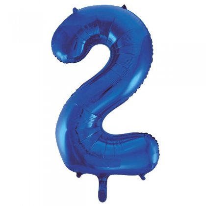 Blue Glitz Number 2 Supershape Balloon