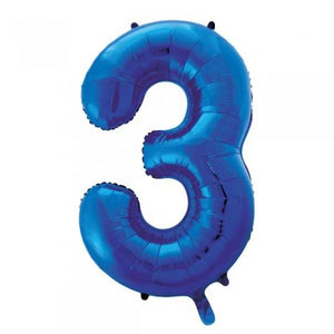 Blue Glitz Number 3 Supershape Balloon