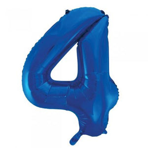 Blue Glitz Number 4 Supershape Balloon