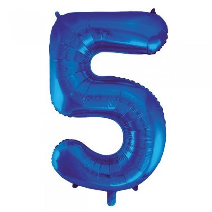 Blue Glitz Number 5 Supershape Balloon