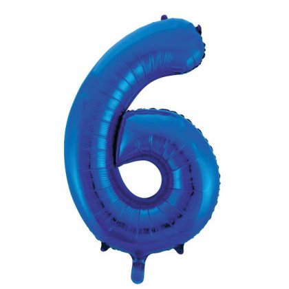 Blue Glitz Number 6 Supershape Balloon