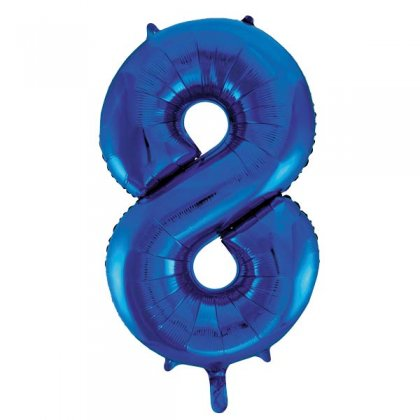 Blue Glitz Number 8 Supershape Balloon