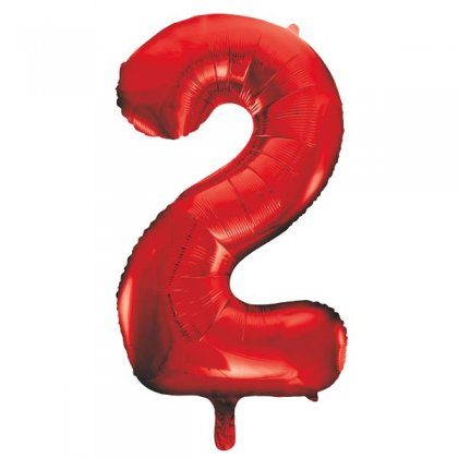 Red Number 2 Supershape Balloon
