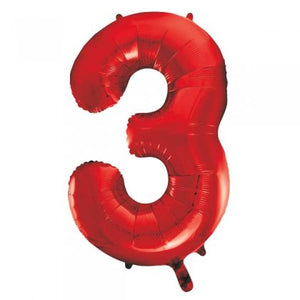 Red Number 3 Supershape Balloon