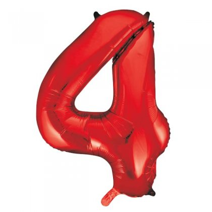 Red Number 4 Supershape Balloon