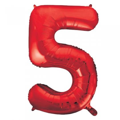Red Number 5 Supershape Balloon