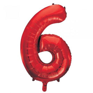 Red Number 6 Supershape Balloon