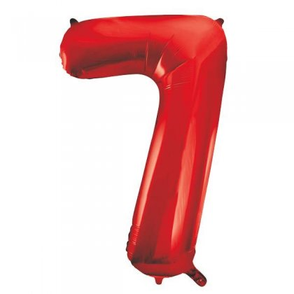 Red Number 7 Supershape Balloon
