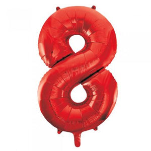 Red Number 8 Supershape Balloon