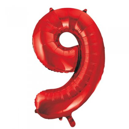 Red Number 9 Supershape Balloon