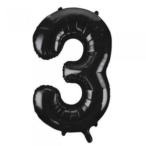 Black Number 3 Supershape Balloon