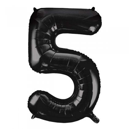 Black Number 5 Supershape Balloon