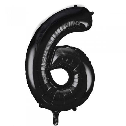 Black Number 6 Supershape Balloon